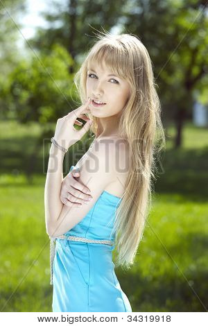 Cute girl in blue dress