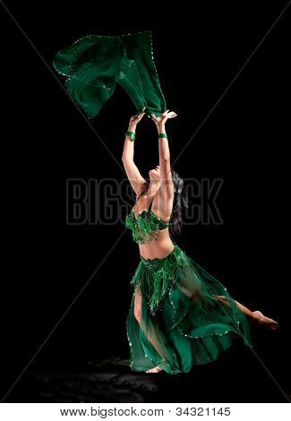 Bellydancer on a black background