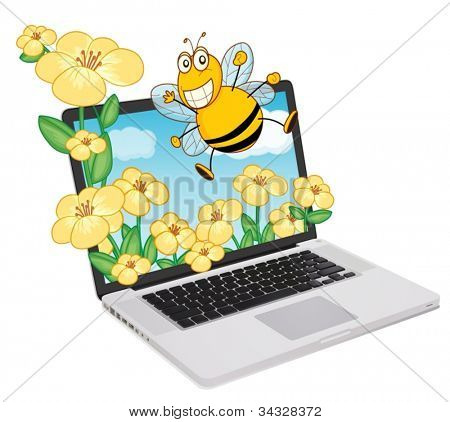illustration of a laptop and bee, flowers on a white background