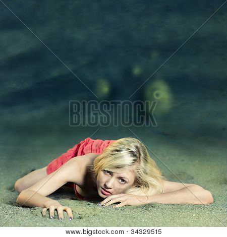 Fashion Portrait Of Beautiful Woman Posing On Bright Background