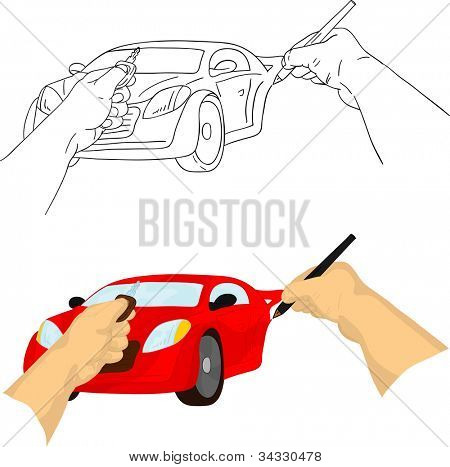 vector - left hand holding keys and right hand painting car