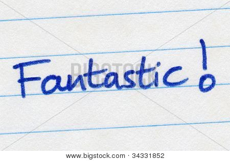 Fantastic written in blue ink on white paper.