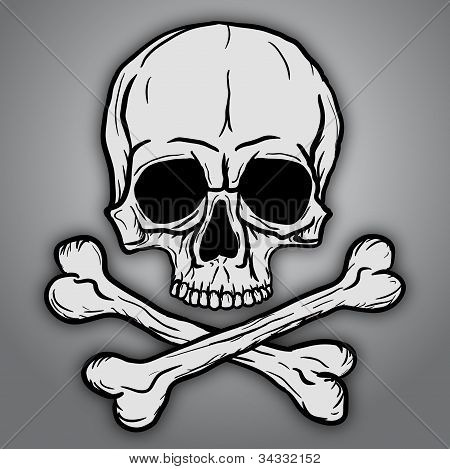 Skull with Bones Over Gray Background