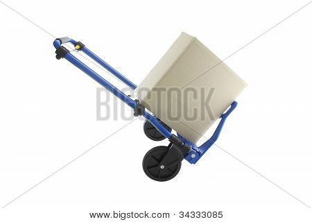 Blue iron hand truck with carton box on white background.
