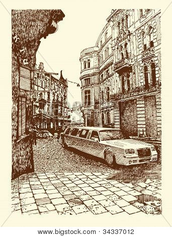 Drawing Of Lviv Historical Building, Ukraine