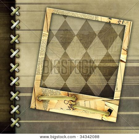 Leather grunge background with photo for scrapbooking