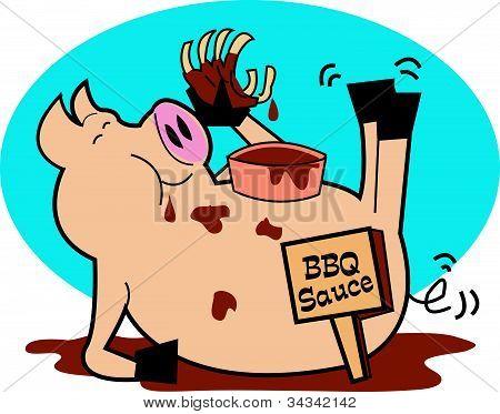 Pig Or Hog Eating BBQ