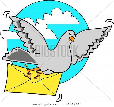 Pigeon Carrying Letter Or Message
