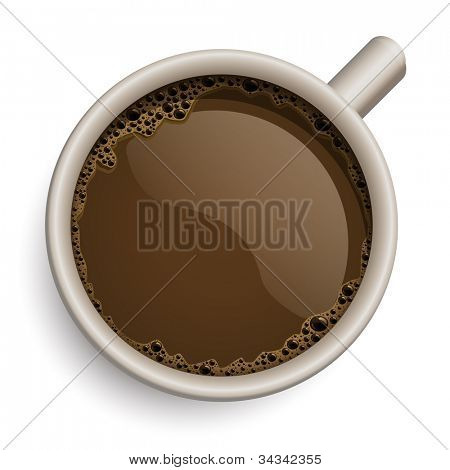 Vector realistic cup of coffee. All elements are layered separately in vector file.