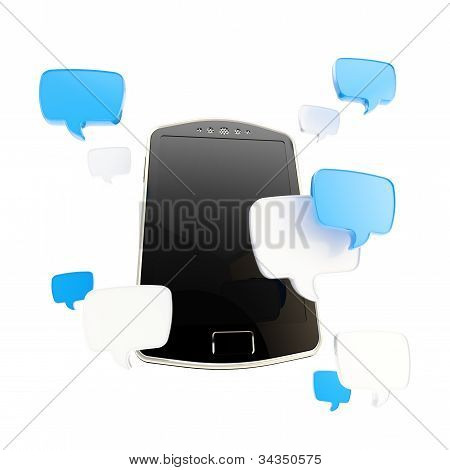Phone surrounded with chatting icons
