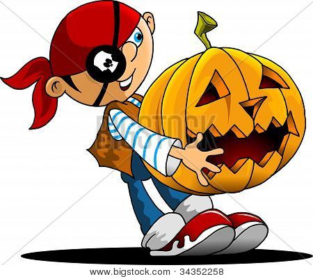 Funny Boy And A Pumpkin