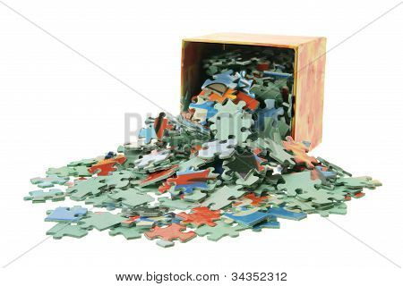 Jigsaw Puzzle Pieces And Box