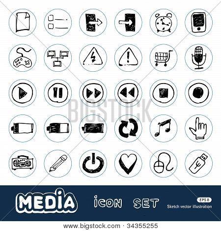 Media and communication web icons set