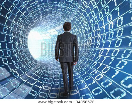 Businessman And Internet Cable