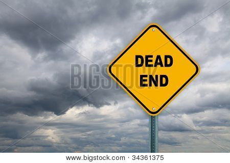 Yellow dead end road sign