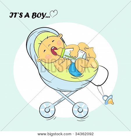 baby boy announcement card. it's a boy illustration
