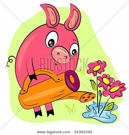 piggy gardener watering flowers. farmer hobby painting