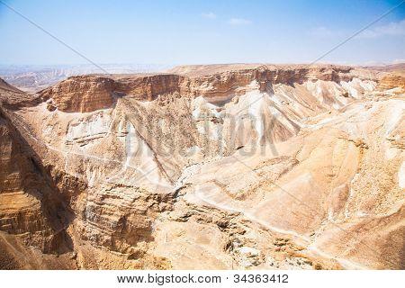Negev desert view from Masada. Barren and rocky. Israel