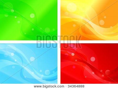 Set of vibrant wavy backgorunds
