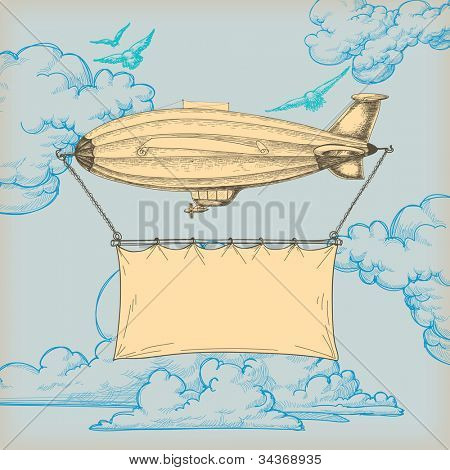 Blimp flying banner for text over blue sky retro background