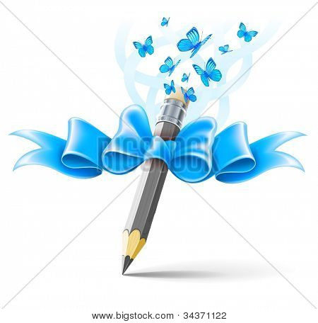 Pencil decorated by bow on white background. EPS10 vector illustration, gradient mesh and transparent objects used