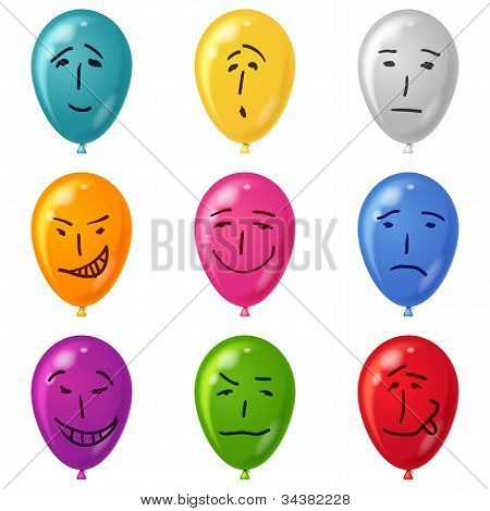 Balloon, set, smilies, eps10