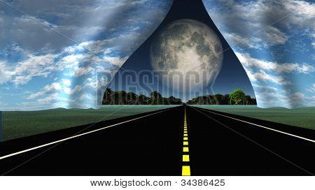 Camino conduce a rip en tejido de la realidad