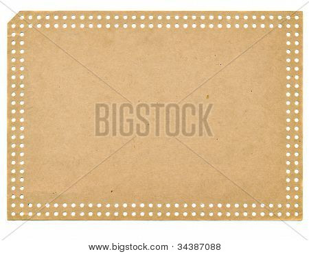 Isolated On White Vintage Empty Paper Punchcard