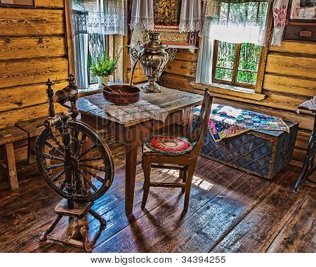 Interior Of   Russian Log Hut With Elements Of The Old Way Of Life