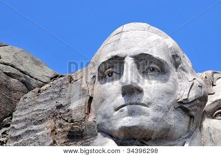 Closeup of former U.S. president George Washington at the Mount Rushmore National Memorial in South Dakota