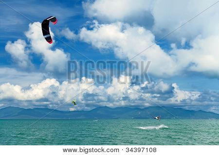 Wakeboarder Jumping From Water In Open Sea