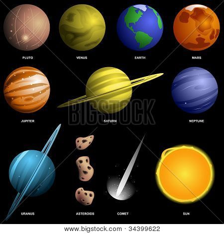 Planets Isolated On Black (not To Scale)