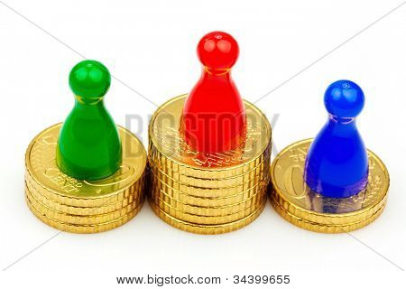 characters on the coins. success and evaluation. winners and losers.