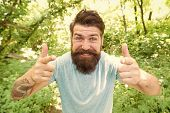 Hipster With Long Beard Emotional Face Close Up Nature Background. Go Wild. Hair Care Male Beauty. S poster
