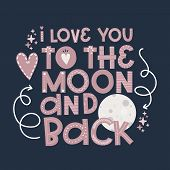 Valentines Day, Moon Greeting Card Template Congratulations, Pink Love Lettering Vector poster