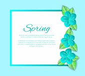 Spring Season Poster With Text Sample And Frame Vector. Blossom And Foliage Flourishing, Decoration  poster