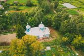 Khalch, Vetka District, Belarus. Aerial View Old Church Of The Archangel Michael. Top View From High poster