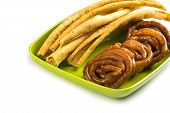 Indian Cuisine Fafda And Jalebi, Special And Famous Dish Of Gujarat. poster