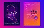 Dj Event. Commercial Show Magazine Set. Dynamic Fluid Shape And Line. Dj Event Neon Flyer. Techno Tr poster