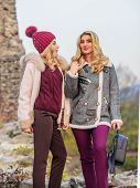 Women In Tweed Jacket And Half-length Coat. Warm Clothes In Fall. Sexy Women Nature Background. Knit poster