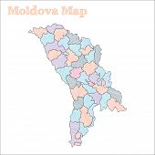 Moldova Hand-drawn Map. Colourful Sketchy Country Outline. Vector Illustration. poster