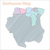 Suriname Hand-drawn Map. Colourful Sketchy Country Outline. Vector Illustration. poster