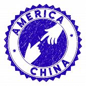 Connecting America China Stamp. Blue Vector Rounded Distress Seal Stamp With Connecting Hands For Am poster