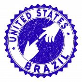 Connecting United States Brazil Stamp Seal. Blue Vector Rounded Scratched Seal Stamp With Connecting poster