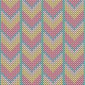 Yarn Downward Arrow Lines Christmas Knit Geometric Seamless Pattern. Rug Knitwear Structure Imitatio poster