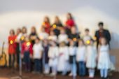 Childrens Choir On Stage. Young Talents. Childrens Performance. Blurry poster
