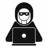 Hacker Man Icon. Simple Illustration Of Hacker Man Vector Icon For Web Design Isolated On White Back poster