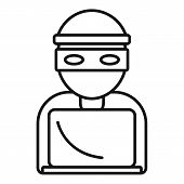 Hacker Icon. Outline Hacker Vector Icon For Web Design Isolated On White Background poster
