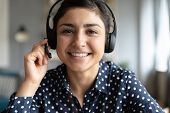 Smiling Indian Girl Professional Wear Headset Look At Camera Webcam poster
