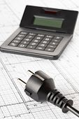 Power Cord, Plug And Calculator On Building Construction Blueprint Plan Background - Energy Saving O poster